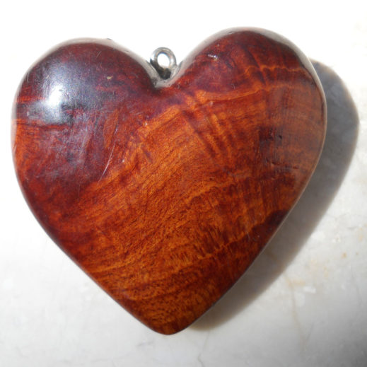 Carved Wood Heart Pendant