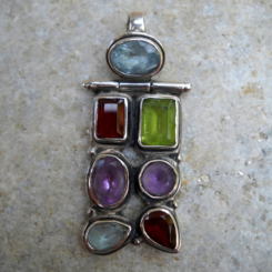 7 gemstone hinged sterling silver pendant