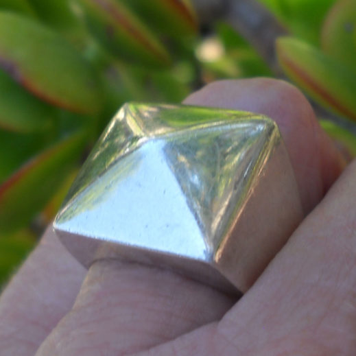 4-sided pyramid shaped silver ring